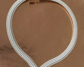 Monet White Enamel Chain Choker Necklace