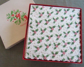 Retro Vintage 1960s Elegant Holly Berry Boxed Paper Napkin Set of 27 Christmas Holiday Freund-Mayer Made in Denmark