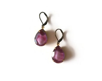 Purple Earrings - Plum Earrings - Vintage Inspired Jewelry - Vintage Cabochon - Purple Drops Earrings (SD1071)