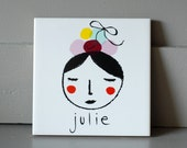 Custom made name tile flower girl personalized personal gift