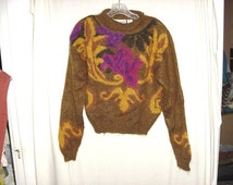 Vintage 80s Brown Fuzzy Mohair Pullover Ladies Sweater S Autograph