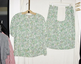 Vintage 50s Maternity Outfit Green Leaf Print M Skirt Top Handmade