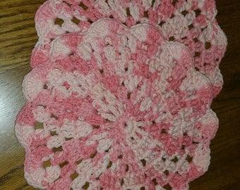 Crochet dishcloth in Coral Swirl set of 2