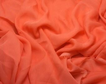 Silk Georgette Chiffon Fabric - CORAL ORANGE - 1/2 Yard