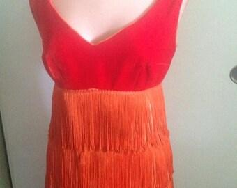 Vintage 50s 60s Red Velvet Fringe Top