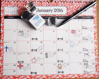 Planner / Calendar Appointment Rubber Stamps 25+ choices - Handmade by BlossomStamps