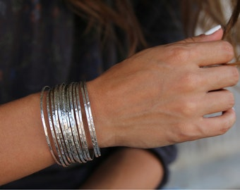 Sterling Silver Stacking Bangles, Silver Stacking Bracelets, Stacking Silver Bracelets, Sterling Silver Layered Jewelry, Layering Jewelry