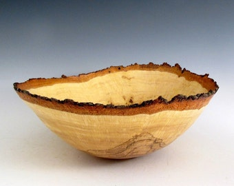 Medium Natural Bark Edge Oak Burl Wood Turned Fruit Bowl - Gifts for Men - Gifts for Women - Oak Wooden Bowl - Lathe Turned Oak Bowl