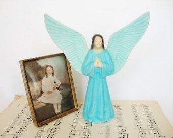 vintage ceramic angel, blue guardian angel figurine