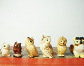 vintage miniature owl collection ceramic owls figurines