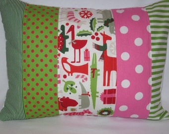 Yuletide Zoo Animals Quilted Pillow Cover 12x16 - Christmas Decor, Cushion Cover, Holiday, Berry Red, Holly Green, Polka Dots, Stripes