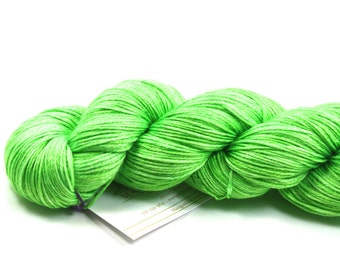 Limeade--hand dyed sock weight yarn, merino and silk, (437yds/100gm)