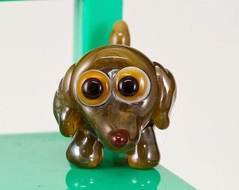 Tan Brown Dachshund Lampwork Dog Bead