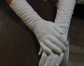 Vintage White Evening  Gloves (S)