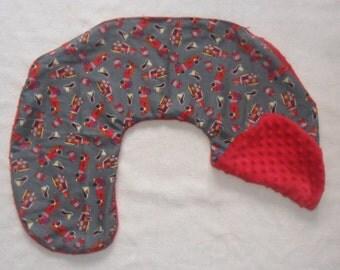 Firetrucks and Red Minky Dot Nursing Pillow Cover Fits Boppy