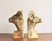 Pair of brass ram bookends