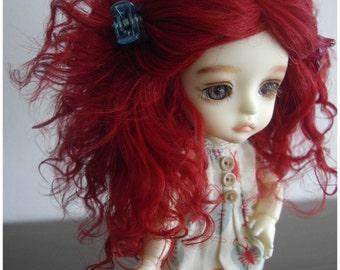 Carmin red tibetan mohair wig for lati yellow/pukifee/tiny delf