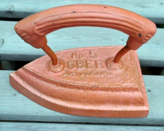 Antique Ober Number 5 Sad Iron - Vintage Painted Pink with Decal