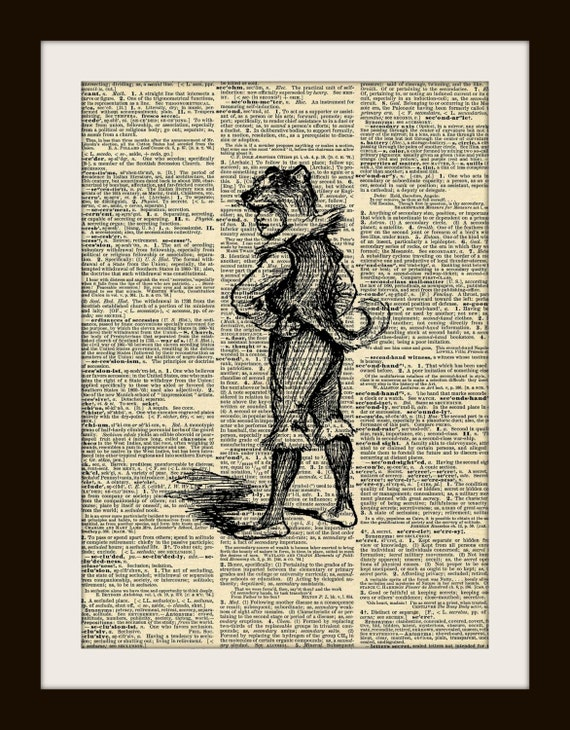 Art Print WOLF BOY 8x10 Dictionary Gold Gilded Vintage Page