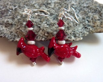 Red Cardinal Earrings, Christmas Earrings, Holiday Earrings, Red Bird Drop Dangle, Sterling Silver