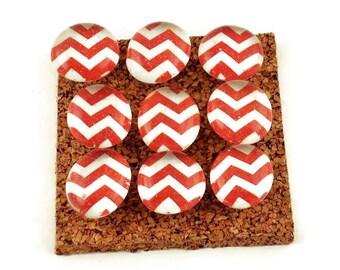 Decorative Funky Push Pins  Thumb Tacks Cork Board Pins  Red Chevron (P118)