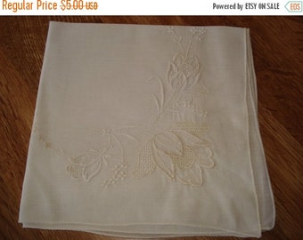 50% OFF SHOP SALE Vintage Hankie - Machine Embroidery Tulips - White on White - #234