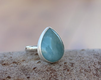 Aquamarine Ring, Aquamarine statement Ring, Genuine Aquamarine Sterling Silver Ring, Aquamarine Ring, Blue Aquamarine