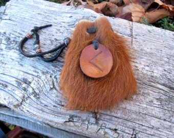 Kaunaz/Kano - Norse rune elkhide and deerskin leather tiny satchel drawstring pouch - similar to medicine bag