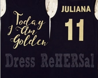 Golden Birthday Front and back  black t with name and age