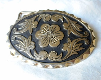 Oval VINTAGE Floral Swirl Western Silver Metal Belt Buckle