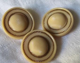 Set of 3 VINTAGE Gold Trim Texture Tan Glass BUTTONS
