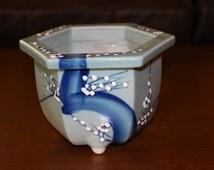 Pretty Hand Painted Blue Floral Hexagonal Vintage 1950s Asian Ceramic Flower Pot Planter