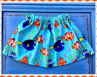 girls Finding Dory Nemo skirt 0-3 3-6 6-9 0-12 12-18 2T 3T 4T 4/5 6/6X 7/8 10/12 and 14/16 ready to ship