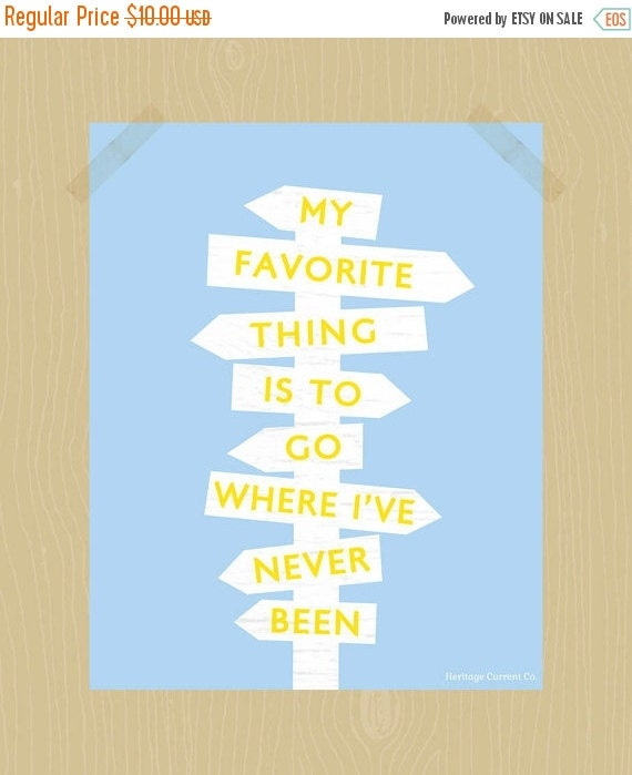 Printable Where I've Never Been Quote 8 x 10 Travel Quote Quote Print Summer Road Trip Print Adventure Quote Signpost Wanderlust Art