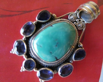 Vintage Sterling Silver Turquoise and Faceted Amethyst Bezel Set Pendant Necklace