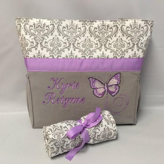 purple butterfly diaper bag set gray damask bottle. Black Bedroom Furniture Sets. Home Design Ideas