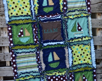 Nautiacl Rag Quilt Baby Boy Nursery - Green / Blue / Brown- Anchor Baby Quilt- Mini Crib Quilt Baby Boy Gift- Presents for Boys Crib Blanket
