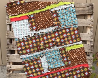 CAR SEAT Canopy and Rag Quilt Brown, Blue, and Red for Baby Boy - Stroller, CarSeat Baby Blanket - Mini Crib Quilt - Boy Rag Quilt