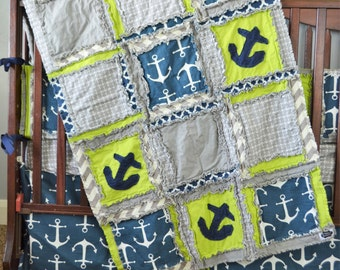 Nautical Custom Crib Set - Baby Boy Nursery Bedding Sets - Rag Quilt, Bumpers, Skirt, Fitted Sheet - Nautical Baby Bedding Green, Navy, Gray