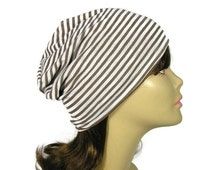 Summer Knit Reversible Slouch Hat 100% Cotton Lined Lightweight Brown and White Striped Slouchy Unisex  Beanie
