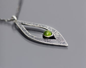Etched Sterling Silver Vine Lace and Peridot Necklace, sterling silver and green gemstone pendant