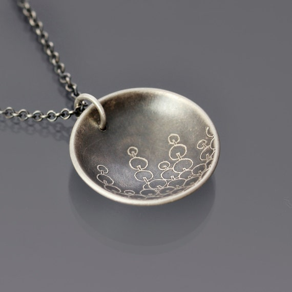 Sprout Sterling Silver Necklace, botanical necklace, etched silver, oxidized silver, circle necklace, botanical jewelry