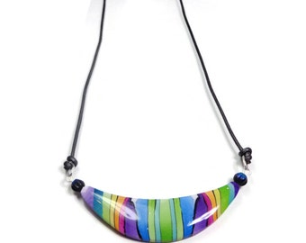 Rainbow Choker Necklace- polymer clay jewelry Gifts for Her- Abstract Necklace- Minimalist Bar Necklace