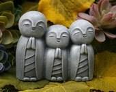 Jizo Trio Statue - Garden Jizo Buddhas - Triple Jizo Bodhisattva, Guardian & Protector of Women, Children, Travelers, and Other Voyagers