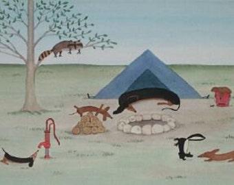 Dachshund (doxie) family finds fun, adventure on camping trip / Lynch signed folk art print
