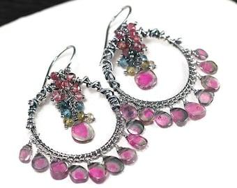 Watermelon Tourmaline earrings, Multi Colour Tourmaline cluster, Tourmaline Chandelier, Oxidised 925 Silver hooks ... HEDVA Earrings
