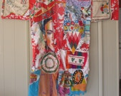 hold for fh - frida fiesta kimono - Patchwork Couture Altered Artist Collage Clothing - Wearable Folk Art - Vintage  Plus Size xl - mybonny