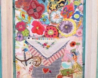 FLORAL BOUQUET Fabric Collage Art - Vintage Linens -  Cottage Garden Floral & Birds --mybonny random scraps
