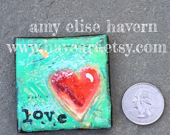 LOVE mini canvas heart painting 2x2