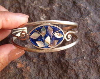 Bracelet, Cuff Bracelet, Mexico Bracelet, Enamel Bracelet, Sterling Silver Bracelet